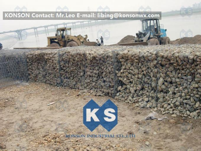PVC Coated Galvanized Gabion Boxes / Gabions And Mattresses By Hexagonal Mesh