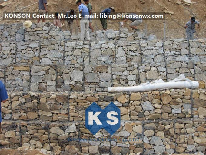 Hexagonal Fence Gabion Basket / Gabion Wire Cages Rock Retaining Wall