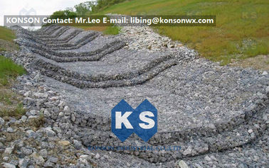 چین Water And Soil Erosion Preventing Gabion Boxes With Hexagonal Wire Mesh تامین کننده